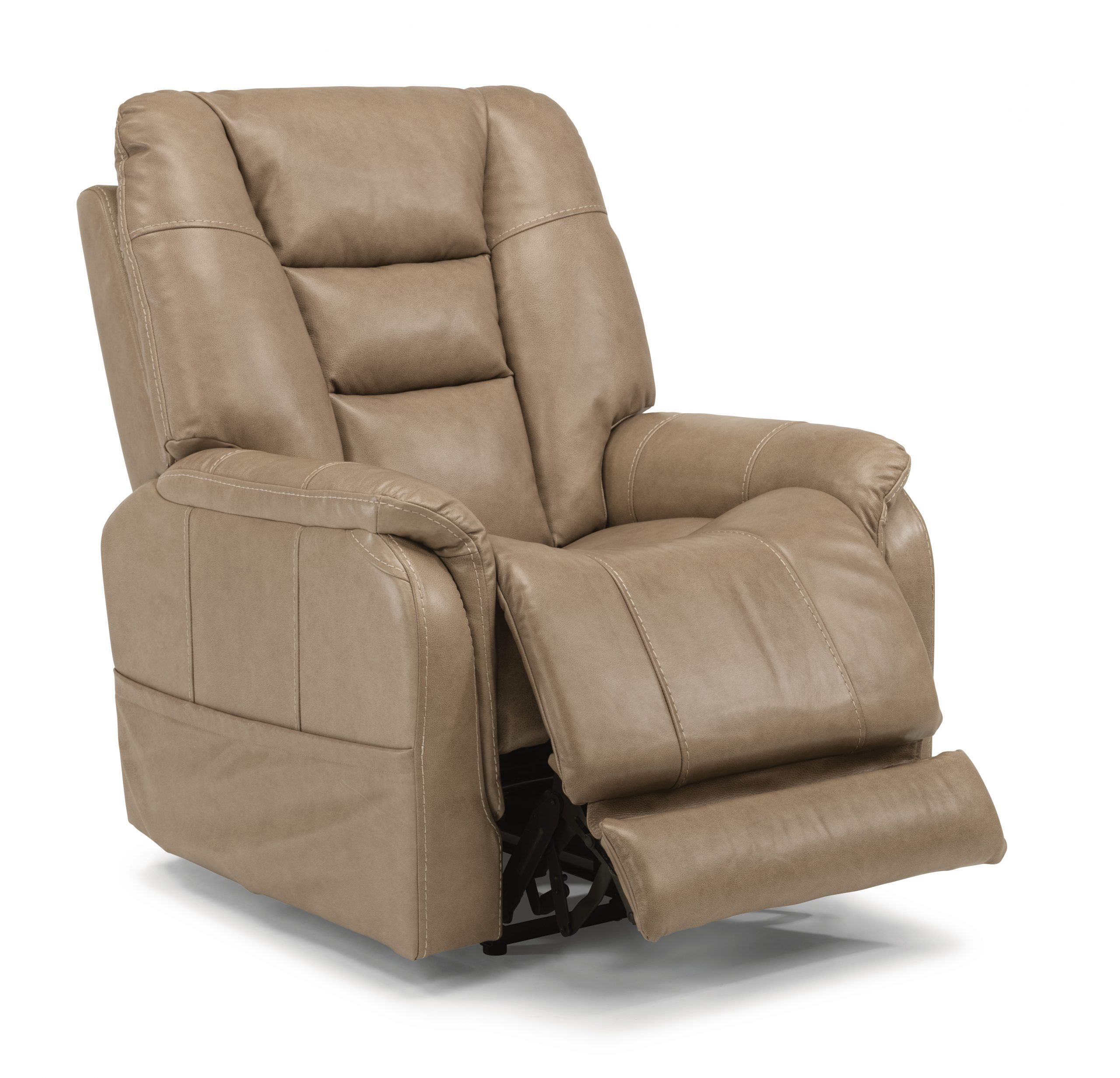 Flexsteel Theo Leather Big and Tall Power Recliner with Headrest and Lumbar (Recliners)