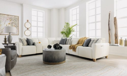 flexsteel astra leather sofa sectional with power headrests